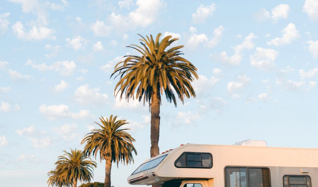 parked white motorhome